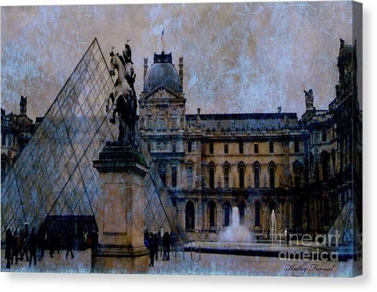 The Louvre Canvas Print - Paris Louvre Museum Impressionistic - Surreal Blue Brown Louvre Pyramid Architecture Sculptures by Kathy Fornal