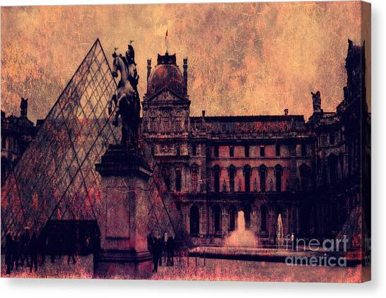 The Louvre Canvas Print - Paris Louvre Museum - Musee Du Louvre - Louvre Pyramid  by Kathy Fornal