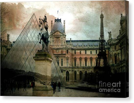 The Louvre Canvas Print - Paris Louvre Museum Pyramid Architecture - Eiffel Tower Photo Montage Of Paris Landmarks by Kathy Fornal