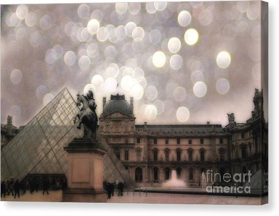 The Louvre Canvas Print - Paris Louvre Museum Pyramid - Dreamy Louvre Museum And Pyramids by Kathy Fornal