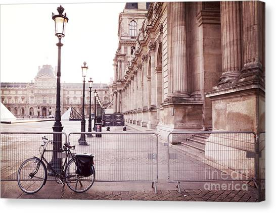 The Louvre Canvas Print - Paris Louvre Museum Street Lamps Bicycle Street Photo - Paris Romantic Louvre Architecture  by Kathy Fornal