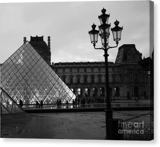 The Louvre Canvas Print - Paris Louvre Pyramid Black And White Fine Art Print - Louvre Musem Pyramid With Lanterns by Kathy Fornal