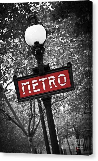 Street Lamp Canvas Print - Paris Metro by Elena Elisseeva