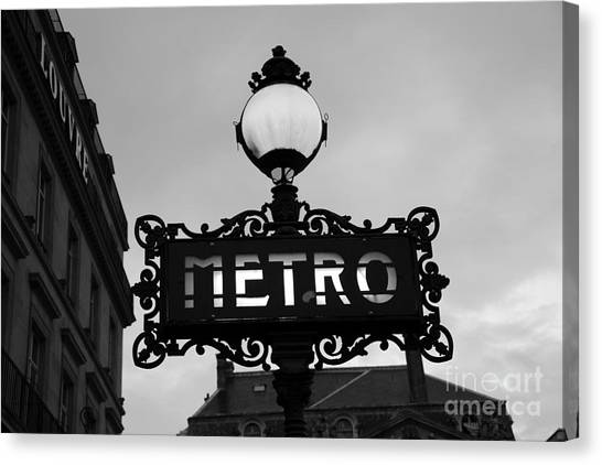 Street Lights Canvas Print - Paris Metro Sign Black And White Art - Ornate Metro Sign At The Louvre - Metro Sign Architecture by Kathy Fornal