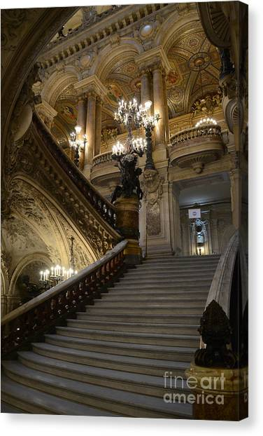 Paris Opera Garnier Grand Staircase - Paris Opera House Architecture Grand Staircase Fine Art Canvas Print