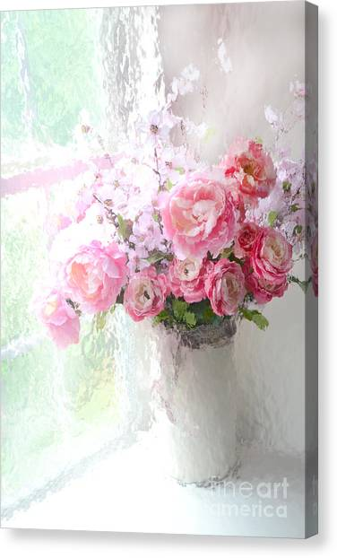 Impressionistic Canvas Print - Paris Peonies Roses Shabby Chic Art - Romantic Paris Peonies And Roses Impressionistic Floral Art by Kathy Fornal