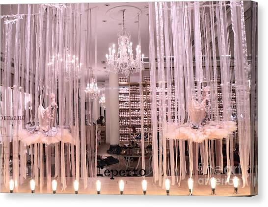 Parisian Canvas Print - Paris Repetto Ballerina Tutu Shop - Paris Ballerina Dresses Window Display  by Kathy Fornal