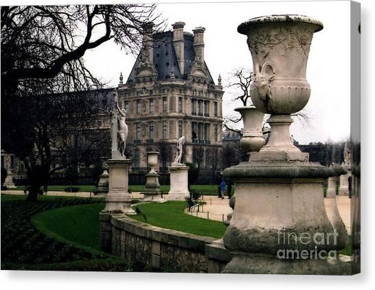 The Louvre Canvas Print - Paris Louvre Tuileries Park - Jardin Des Tuileries Garden - Paris Landmark Garden Sculpture Park by Kathy Fornal