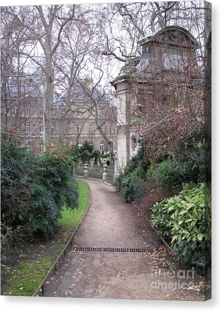 Jardin Canvas Print - Paris Romantic Parks - Luxembourg Gardens - Medici Fountain Park - Pathway To Luxembourg Gardens by Kathy Fornal