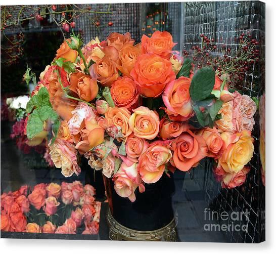 Parisian Canvas Print - Paris Roses Autumn Fall Peach Orange Roses - Paris Roses Flower Market Shop Window by Kathy Fornal