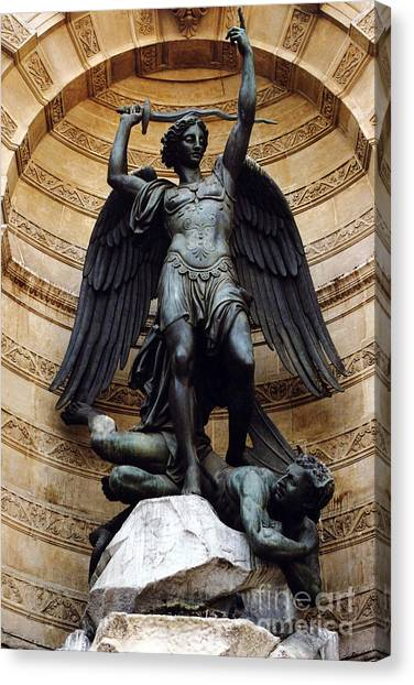 Angel Art By Kathy Fornal Canvas Print - Paris Saint Michael Archangel Statue Monument - St. Michael Fountain Square by Kathy Fornal