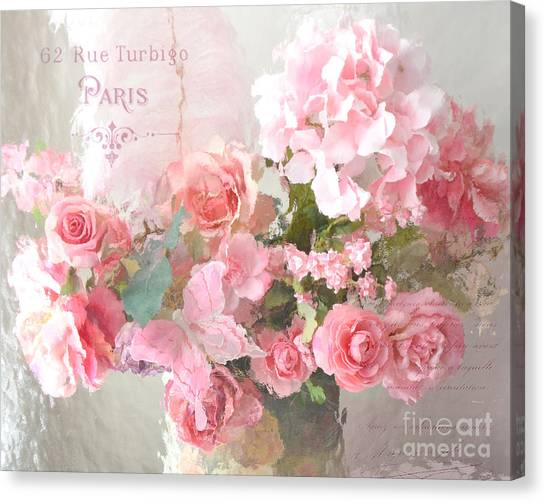 Impressionistic Canvas Print - Paris Shabby Chic Dreamy Pink Peach Impressionistic Romantic Cottage Chic Paris Flower Photography by Kathy Fornal