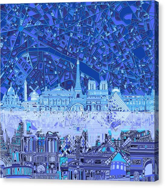 Paris Skyline Canvas Print - Paris Skyline Abstract Blue 2 by Bekim Art