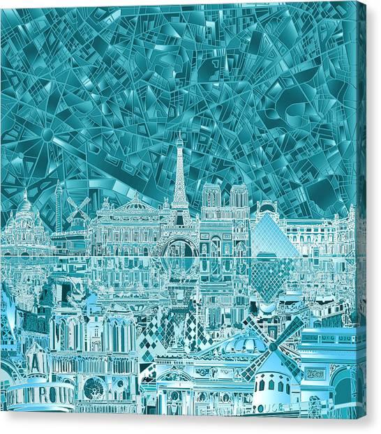 Paris Skyline Canvas Print - Paris Skyline Abstract Blue by Bekim Art