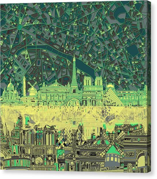 Paris Skyline Canvas Print - Paris Skyline Abstract Green by Bekim Art