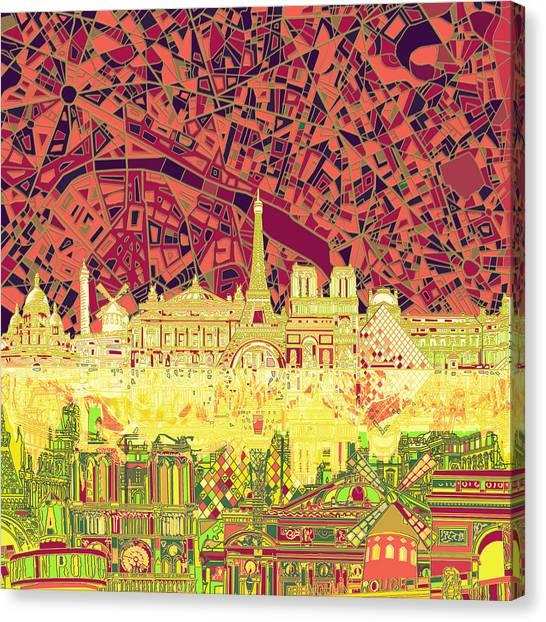 Paris Skyline Canvas Print - Paris Skyline Abstract by Bekim Art
