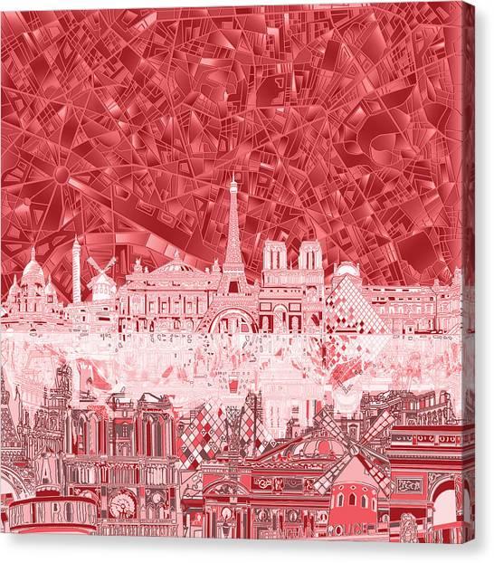Paris Skyline Canvas Print - Paris Skyline Abstract Red  by Bekim Art