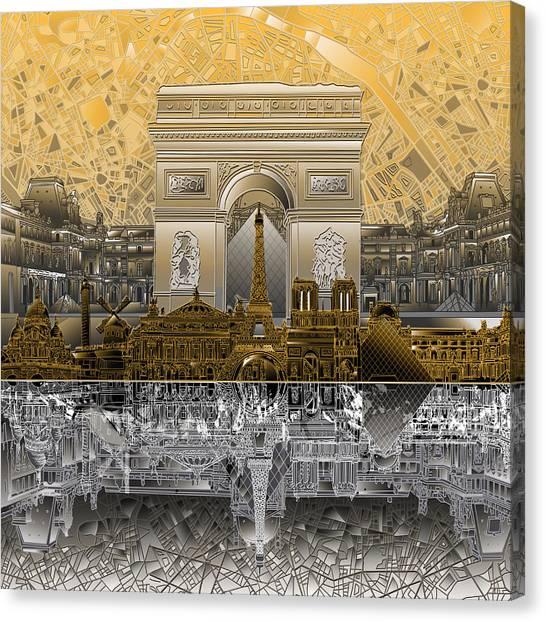 Paris Skyline Canvas Print - Paris Skyline Landmarks 5 by Bekim Art