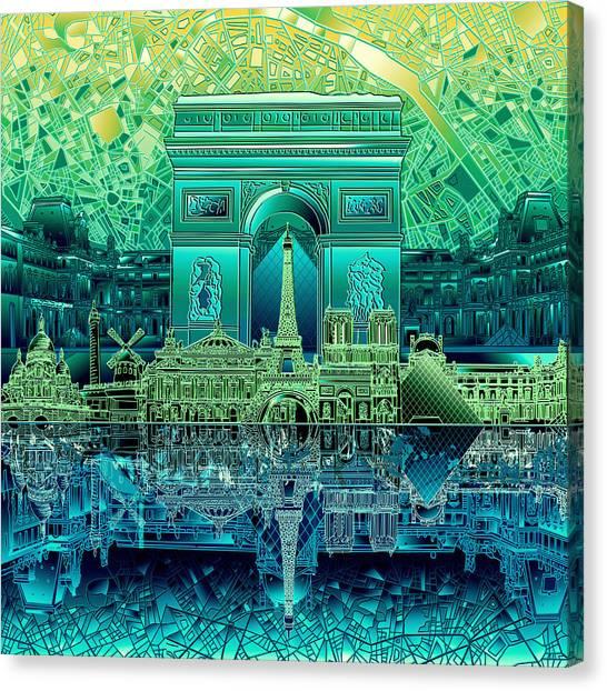 Paris Skyline Canvas Print - Paris Skyline Landmarks 6 by Bekim Art