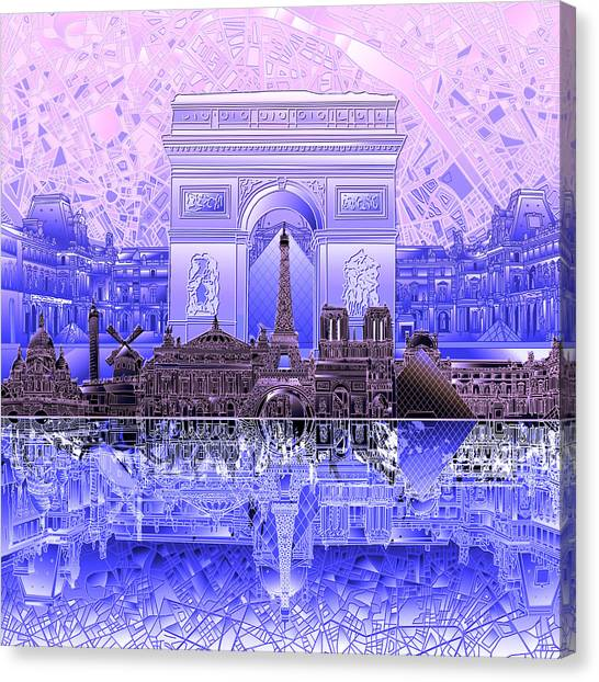 Paris Skyline Canvas Print - Paris Skyline Landmarks 7 by Bekim Art