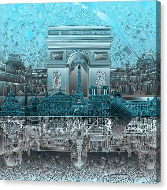 Paris Skyline Canvas Print - Paris Skyline Landmarks by Bekim Art