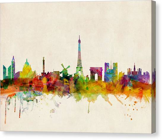 Tower Canvas Print - Paris Skyline by Michael Tompsett