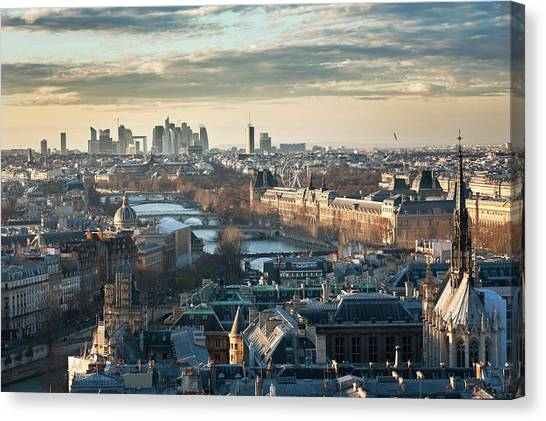 Paris Skyline View From Notre-dame Canvas Print by © Philippe Lejeanvre