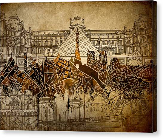 Paris Skyline Canvas Print - Paris Skyline Vintage 2 by Bekim Art