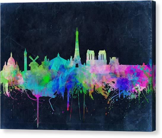 Paris Skyline Canvas Print - Paris Skyline Watercolor 2 by Bekim Art