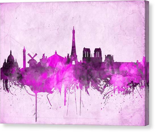 Paris Skyline Canvas Print - Paris Skyline Watercolor Purple by Bekim Art