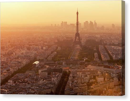 Paris Skyline With Eiffel Tower In Canvas Print by B&m Noskowski