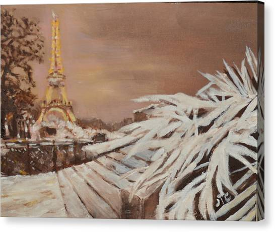 Paris Sous La Neige Canvas Print