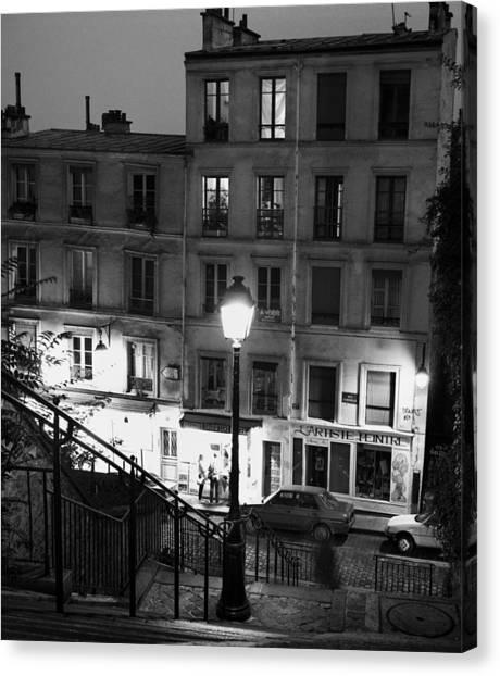 Paris-steps-montmartre Canvas Print