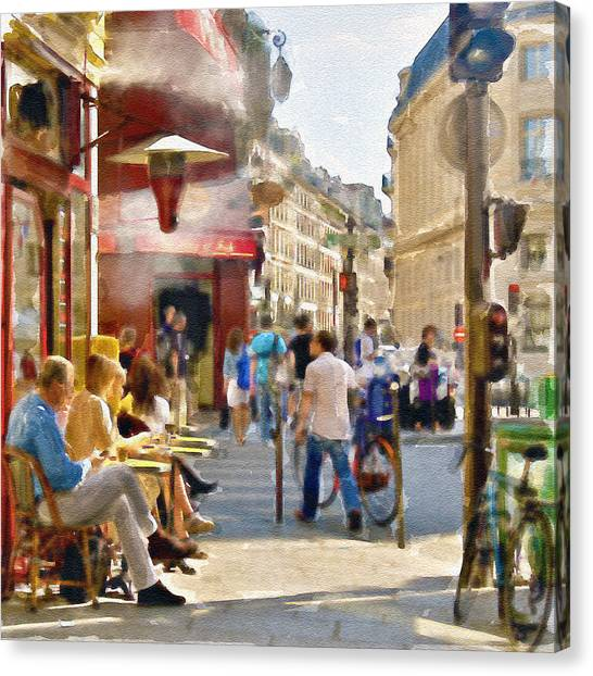 Street Cafe Canvas Print - Paris Streetscape Watercolor by Marian Voicu