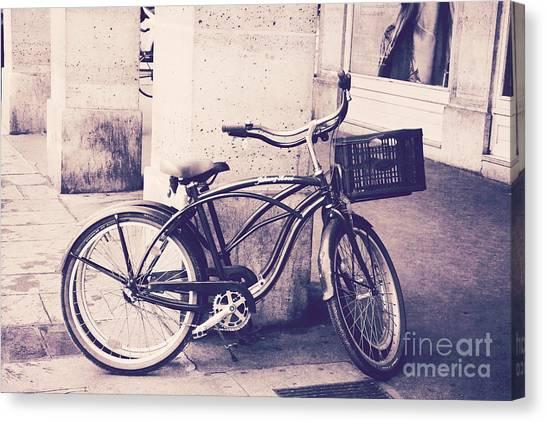 The Louvre Canvas Print - Paris Vintage Style Bicycle Photography - Paris Bicycle Bike Street Photo - Paris Vintage Bike Art by Kathy Fornal