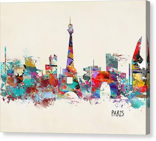Paris Skyline Canvas Print - Paris Watercolor Skyline by Bri Buckley