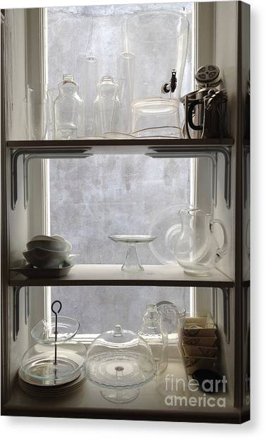 Kitchen Window Canvas Print - Paris Windows Kitchen Architecture - Paris Vintage Kitchen Window Ethereal Frosted Glass And Dishes by Kathy Fornal