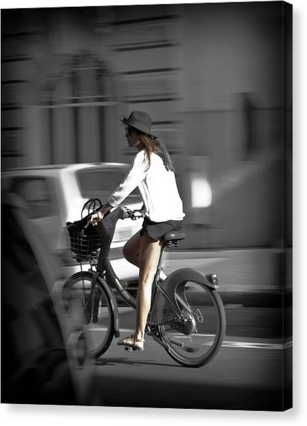 Parisian Girl Cyclist Canvas Print