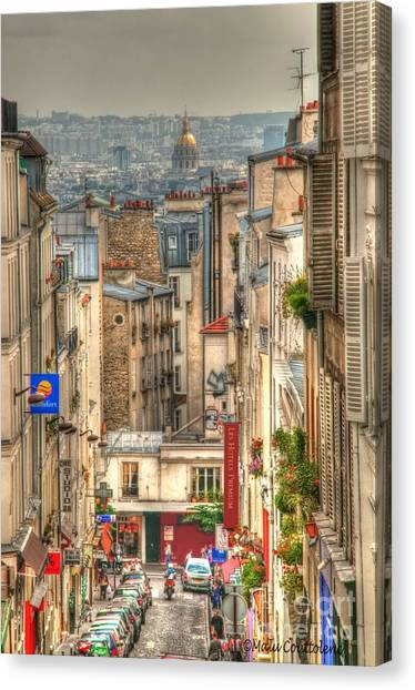 Parisian Street View Canvas Print by Malu Couttolenc