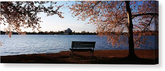 Jefferson Memorial Canvas Print - Park Bench With A Memorial by Panoramic Images