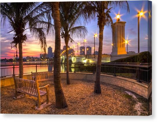 Flagler Beach Canvas Print - Park On The West Palm Beach Wateway by Debra and Dave Vanderlaan