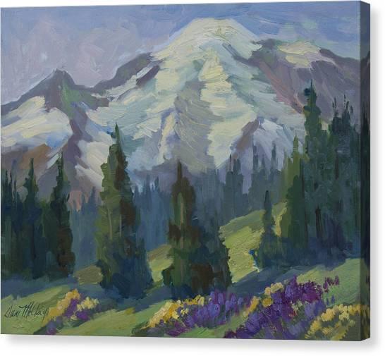 Mount Rainier Canvas Print - Park Sunrise At Mount Rainier by Diane McClary