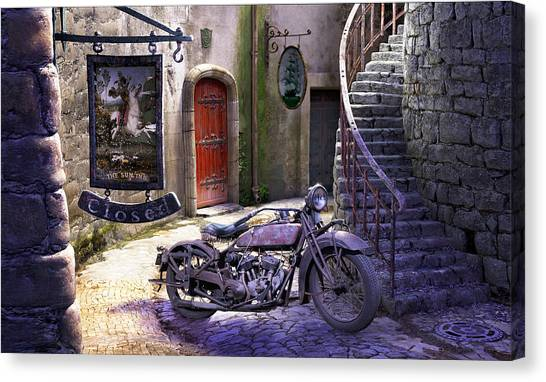 Choppers Canvas Print - Parked At The Inn by Gary Hanna
