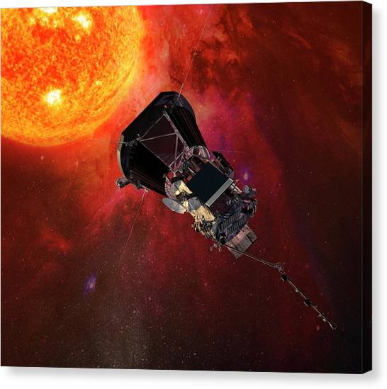 Johns Hopkins University Canvas Print - Parker Solar Probe At The Sun by Nasa/johns Hopkins University Applied Physics Laboratory/science Photo Library