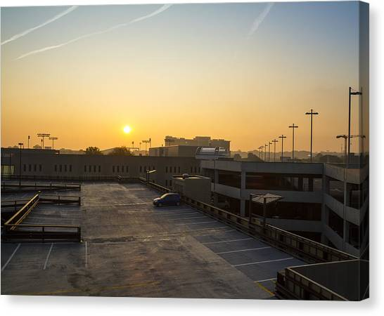 University Of Akron Canvas Print - Parking Deck Morning  by Tim Fitzwater