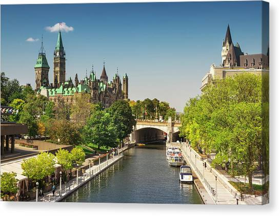 Parliament Hill Canvas Print - Parliament Building With Peace Tower by Paul Giamou