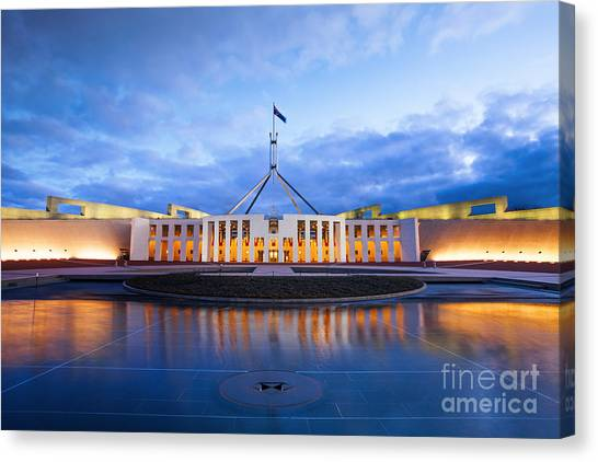 Canberra Canvas Print - Parliament House Canberra Australia by Colin and Linda McKie