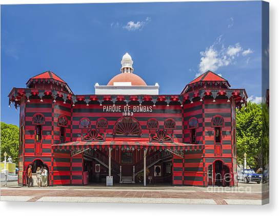 Canvas Print featuring the photograph Parque De Bombas Fire Station In Ponce Puerto Rico by Bryan Mullennix