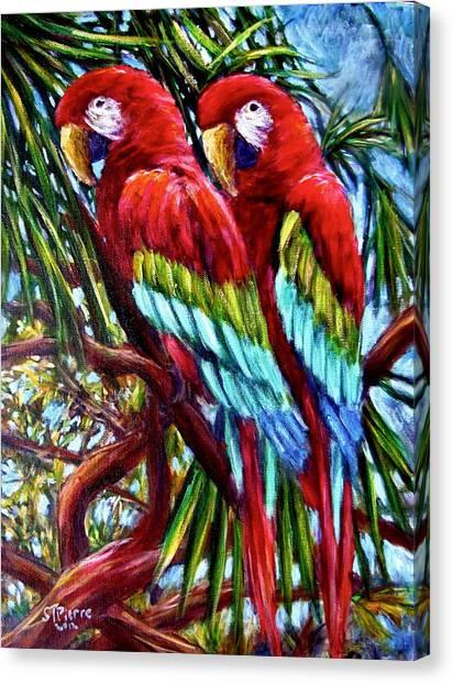 Parrot Pals Canvas Print by Sebastian Pierre