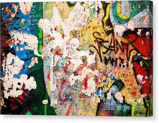 Mauer Canvas Print - Part Of Berlin Wall With Graffiti by Michal Bednarek